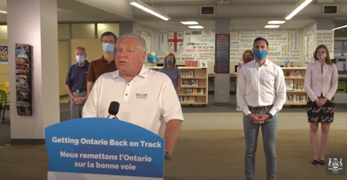 Screenshot of Premier Doug Ford's July 30 live stream announcing Ontario's school reopening plan. Ford is at the podium.